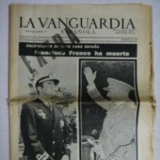Coleccionismo Periódico La Vanguardia: FRANCO HA MUERTO. LA VANGUARDIA, EDICIÓN EXTRA 20 DE NOVIEMBRE DE 1975. Lote 115117643