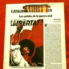Coleccionismo Periódico La Vanguardia: CATALUÑA EN LA GUERRA CIVIL ESPAÑOLA (1986) FASCICULO Nº 19 - ED.LA VANGUARDIA - LOS CARTELES. Lote 125169427
