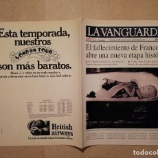 Coleccionismo Periódico La Vanguardia: REEDICION AÑO 1998 - LA VANGUARDIA - ARCHIVO - 1975 MUERTE FRANCO FRANCISCO. Lote 128752023