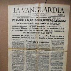 Coleccionismo Periódico La Vanguardia: PERIÓDICO LA VANGUARDIA- 29 SEPTIEMBRE 1938, CHAMBERLAIN,DALADIER,HITLER Y MUSSOLINI (FACSÍMIL).. Lote 137644224