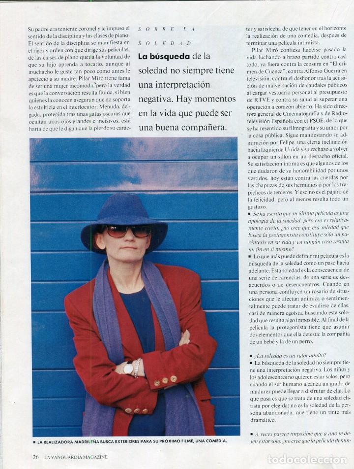 Coleccionismo Periódico La Vanguardia: ARANCHA SANCHEZ VICARIO ENTREVISTA/REPORTAJE 6 PAGINAS 8 FOTOS - PILAR MIRÓ 7 PAG.3 FOTOS AÑO 1993 - Foto 5 - 142736382