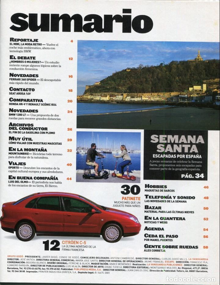 Coleccionismo Periódico La Vanguardia: CONDUCIR Y VIAJAR REVISTA ESCAPE MARZO 2001-MINI MODA RETRO - VER SUMARIO COMPLETO EN FOTO ADICIONAL - Foto 2 - 142833874