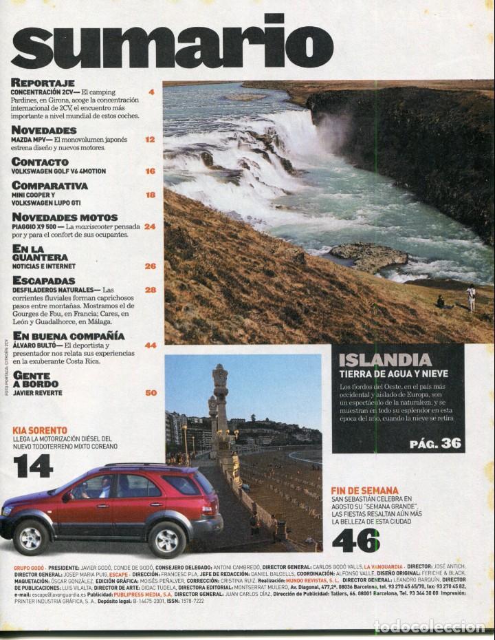Coleccionismo Periódico La Vanguardia: REVISTA ESCAPE - ENTRAÑABLE 2 CV - SEMANA GRANDE DE S SEBASTIAN- SUMARIO COMPLETO EN FOTO ADICIONAL - Foto 2 - 142833886