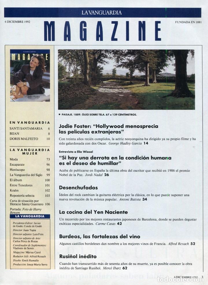 Coleccionismo Periódico La Vanguardia: JODIE FOSTER ENTREVISTA - BOB DYLAN/ERIC CLAPTON/PAUL McCARTNEY DESENCHUFADOS. VER SUMARIO AÑO 1992 - Foto 4 - 143006906