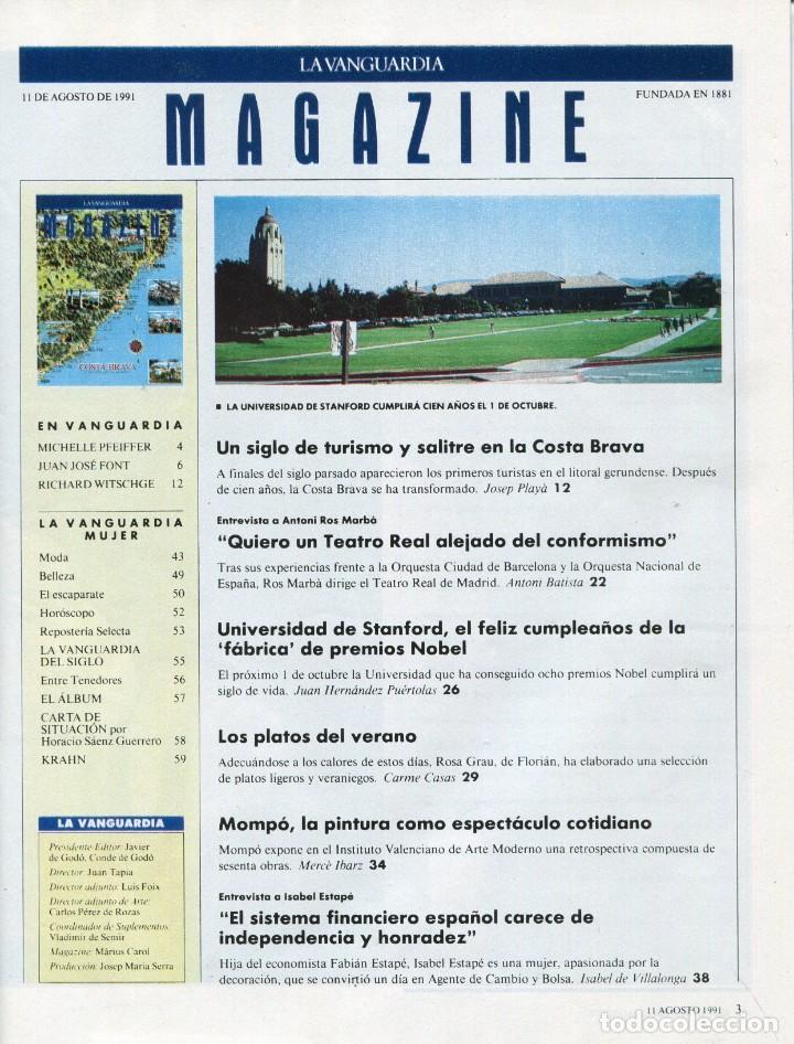 Coleccionismo Periódico La Vanguardia: MAGAZINE-COSTA BRAVA UN SIGLO DE TURISMO 10 PAG.20 FOT.-MOMPÓ PINTOR 4 PAG.5 FOT-VER SUMARIO 1991 - Foto 2 - 152512742