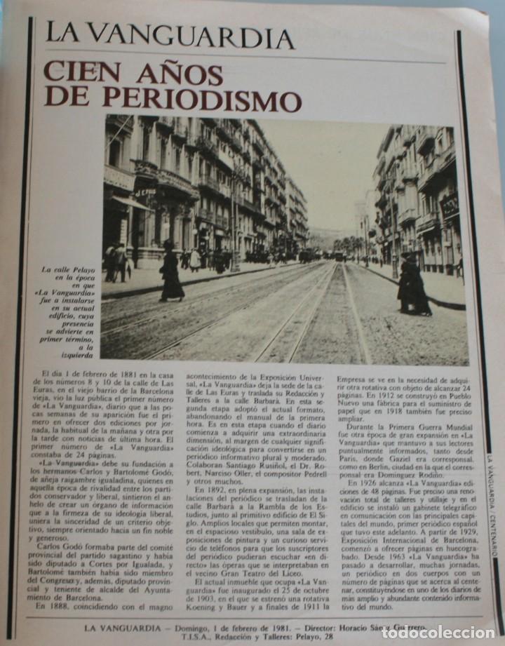 Coleccionismo Periódico La Vanguardia: EDICION ESPECIAL CONMEMORATIVO PERIODICO LA VANGUARDIA CENTENARIO 1881/1981 - Foto 5 - 153564194