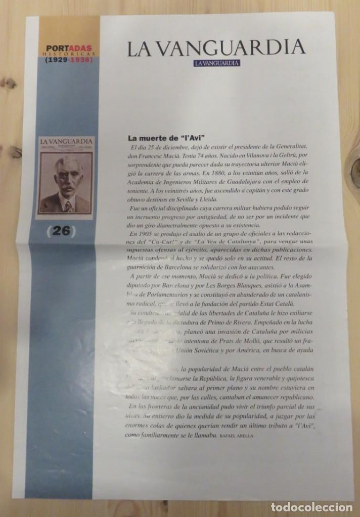 Coleccionismo Periódico La Vanguardia: LAMINA REPRODUCCION PORTADA LA VANGUARDIA 26 DICIEMBRE 1933 - Foto 2 - 156077918