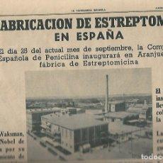 Coleccionismo Periódico La Vanguardia: AÑO 1954 RALLY PIRINEOS PUBLICIDAD BELLA AURORA RELOJ DUWARD FABRICA ESTREPTOMICINA ARANJUEZ. Lote 9330017