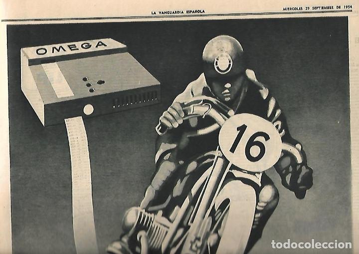AÑO 1954 PUBLICIDAD RELOJ LIP OMEGA CRONO PREMIO MOTOCICLISMO MONTJUIC PERFUMES JUPER CREMA MANOS (Coleccionismo - Revistas y Periódicos Modernos (a partir de 1.940) - Periódico La Vanguardia)