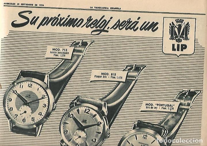 Coleccionismo Periódico La Vanguardia: AÑO 1954 PUBLICIDAD RELOJ LIP OMEGA CRONO PREMIO MOTOCICLISMO MONTJUIC PERFUMES JUPER CREMA MANOS - Foto 3 - 9333588