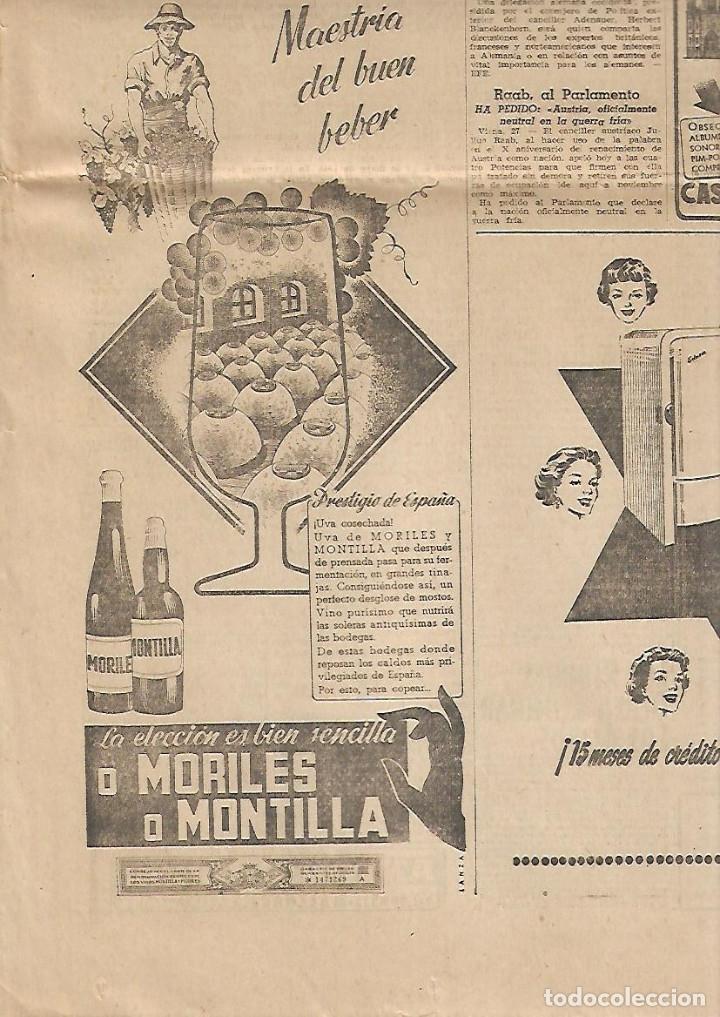 AÑO 1958 CARMEN POLO DE FRANCO VISITA MONTSERRAT LICEO CARLISMO PUBLICIDAD VINO MORILES O MONTILLA (Coleccionismo - Revistas y Periódicos Modernos (a partir de 1.940) - Periódico La Vanguardia)