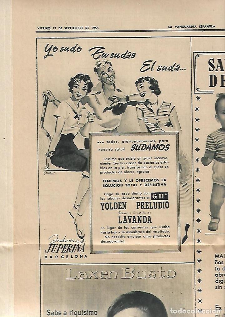 AÑO 1954 PUBLICIDAD RELOJ OMEGA JABON JABONES JUPERINA BCNA VACACIONES FRANCO EN PAZO DE MEIRAS (Coleccionismo - Revistas y Periódicos Modernos (a partir de 1.940) - Periódico La Vanguardia)
