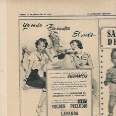 Coleccionismo Periódico La Vanguardia: AÑO 1954 PUBLICIDAD RELOJ OMEGA JABON JABONES JUPERINA BCNA VACACIONES FRANCO EN PAZO DE MEIRAS. Lote 9319795