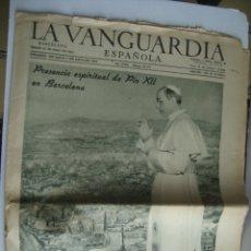Coleccionismo Periódico La Vanguardia: LA VANGUARDIA. PRESENCIA ESPIRITUAL DE PAPA PÍO XII EN BARCELONA (31/05/1952). CONGRESO EUCARÍSTICO.. Lote 179139767