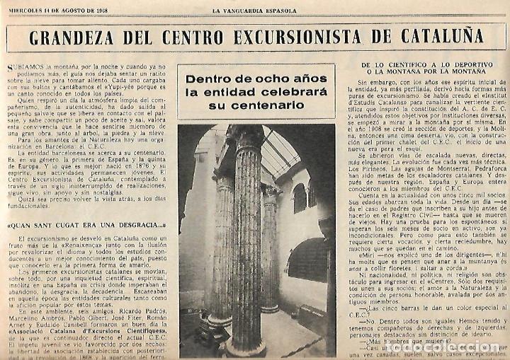 AÑO 1968 ELS ENCANTATS CENTRE EXCURIONISTA CATALUNYA RUTAS ROMANICO VALL FERRERA PALLARS SOBIRA (Coleccionismo - Revistas y Periódicos Modernos (a partir de 1.940) - Periódico La Vanguardia)