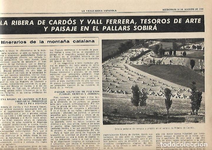 Coleccionismo Periódico La Vanguardia: AÑO 1968 ELS ENCANTATS CENTRE EXCURIONISTA CATALUNYA RUTAS ROMANICO VALL FERRERA PALLARS SOBIRA - Foto 4 - 10684791