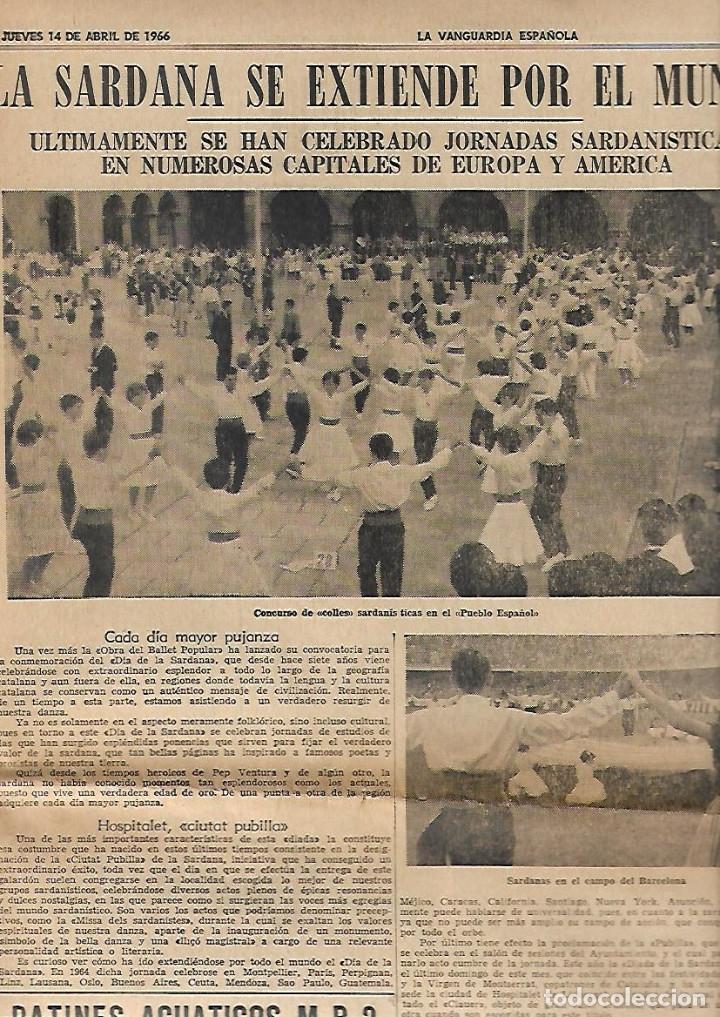 Coleccionismo Periódico La Vanguardia: .AÑO 1966 EL ESCORIAL LA SARDANA EN EL MUNDO PUBLICIDAD BUTANO ZANUSSI SALOU APARTAMENTOS ESTANYETS - Foto 2 - 10766731