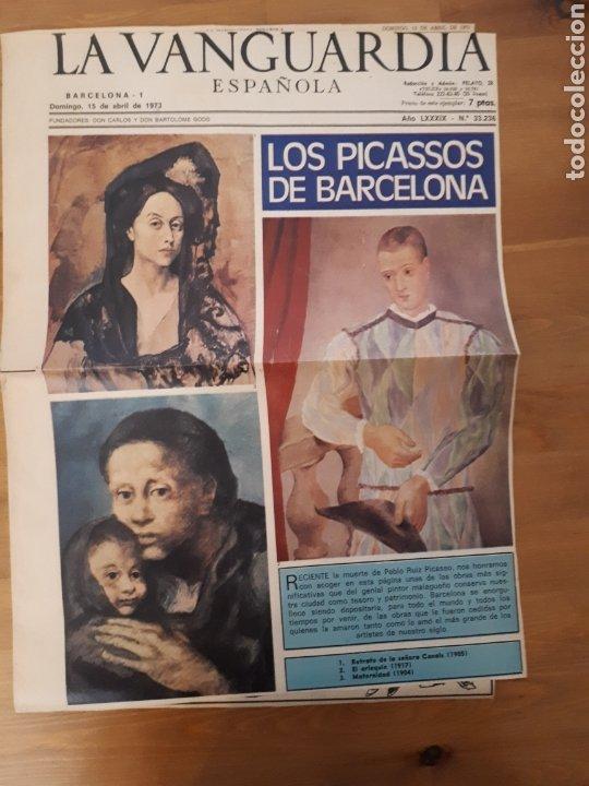 LA VANGUARDIA ESPAÑOLA. SÓLO PÁGINAS REPORTAJE PICASSO ABRIL 1973 (Coleccionismo - Revistas y Periódicos Modernos (a partir de 1.940) - Periódico La Vanguardia)
