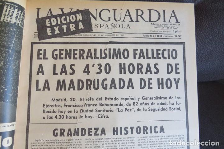 Coleccionismo Periódico La Vanguardia: MUERTE DE FRANCO Y PROCLAMACION DE JUAN CARLOS I - ENCUADERNADO LA VANGUARDIA - Foto 11 - 194632652