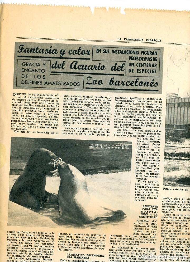 Coleccionismo Periódico La Vanguardia: La Vanguardia Española. 26/12/1966 Suplemento Acuario de Barcelona. Inst. Investigaciones Pesqueras - Foto 7 - 195322180