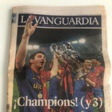 Coleccionismo Periódico La Vanguardia: LA VANGUARDIA 28 MAYO 2009 BARÇA CAMPIONS CAMPEON ROMA 2009 FINAL CHAMPIONS. Lote 206778791