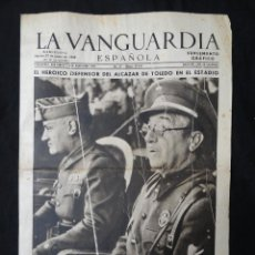 Coleccionismo Periódico La Vanguardia: LA VANGUARDIA - SUPLEMENTO GRÁFICO - 27 JUNIO 1939 - EL HEROICO DEFENSOR DEL ALCAZAR DE TOLEDO. 4 PP. Lote 217249607