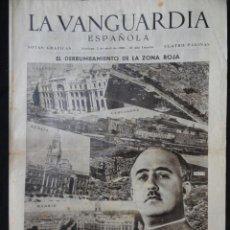 Coleccionismo Periódico La Vanguardia: LA VANGUARDIA NOTAS GRÁFICAS 4 PÁGINAS - MONTJUICH, CASTILHO FIGURES, ETC. 2 DE ABRIL 1939. Lote 217256286