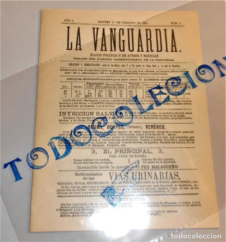 LA VANGUARDIA DIARIO POLITICO Y DE AVISOS I NOTICIAS Nº 1- MARTES 1 FEBRERO 1881 (Coleccionismo - Revistas y Periódicos Modernos (a partir de 1.940) - Periódico La Vanguardia)
