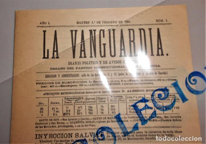 Coleccionismo Periódico La Vanguardia: LA VANGUARDIA DIARIO POLITICO Y DE AVISOS I NOTICIAS Nº 1- MARTES 1 FEBRERO 1881 - Foto 2 - 221633386