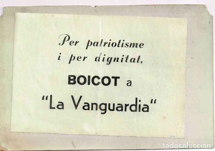 """1959 PER PATRIOTISME Y PER DIGNITAT BOICOT A """"LA VANGUARDIA"""" CAS LUIS MARTÍNEZ DE GALISONGA (Coleccionismo - Revistas y Periódicos Modernos (a partir de 1.940) - Periódico La Vanguardia)"""