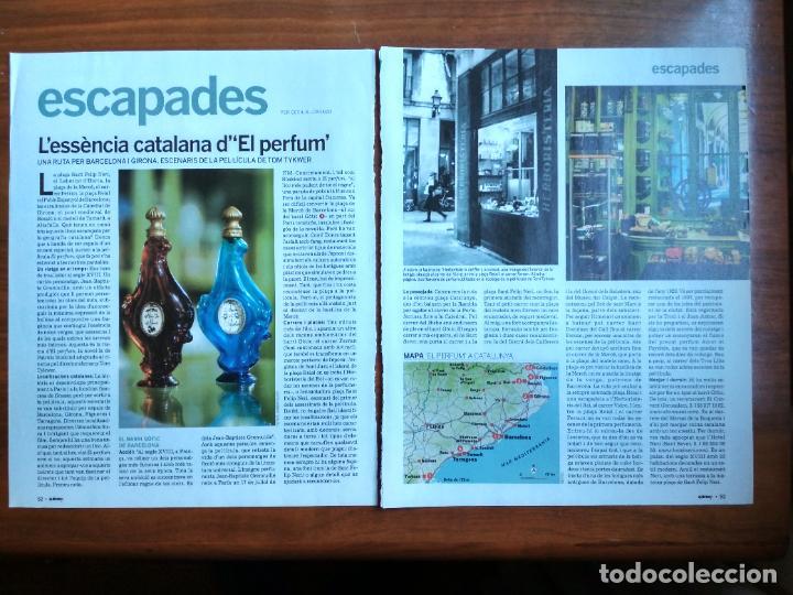 REVISTA QUÈ FEM? LA VANGUARDIA RECORTE CLIPPING LA BARCELONA DEL EL PERFUME PATRICK SUSKIND (Coleccionismo - Revistas y Periódicos Modernos (a partir de 1.940) - Periódico La Vanguardia)