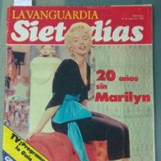 Coleccionismo Periódico La Vanguardia: 20 AÑOS SIN MARILYN - LA VANGUARDIA. REVISTA SIETE DIAS DE 25 DE JULIO DE 1982.. Lote 240934680
