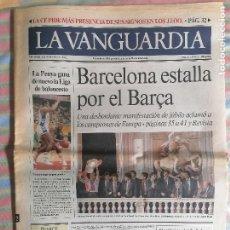 Coleccionismo Periódico La Vanguardia: LA VANGUARDIA 39678 22 DE MAYO 1992 FUTBOL CLUB BARCELONA BARCA CAMPEÓN DE EUROPA EL DIA DESPUES. Lote 265106964