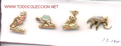 13-1403. PINS DINOSAURIOS 4 DIFERENTES (Coleccionismo - Pins)