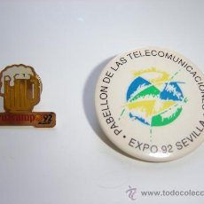 Pins de colección: PINS Y CHAPA DE LA EXPO 92. Lote 9782446