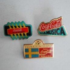 Pins de colección: LOTE DE 3 PINS DE COCACOLA ES LA MUSICA ITALIA 90 AÑO 1986 COCA COLA FUTBOL SUECIA PIN. Lote 38963778