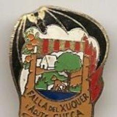 Pins de colección: FALLAS DE VALENCIA: INSIGNIA ESMALTADA ANTIGUA DE FALLA DEL XUQUER. SUECA. Lote 40754009