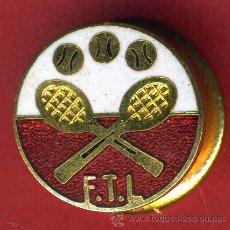 Pins de colección: PIN PUBLICIDAD TENIS , FTL , REVERSO SOLAPA INDUSTRIAS SALUDES , ORIGINAL ,FA. Lote 194552201