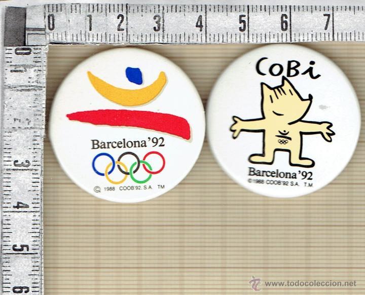 PAREJA DE CHAPAS BARCELONA`92 Y COBI. (Coleccionismo - Pins)