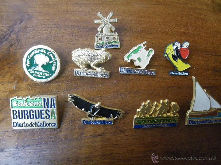 9 PINS DIARIO MALLORCA Y 1 BANCO-CAIXA SA NOSTRA (Coleccionismo - Pins)