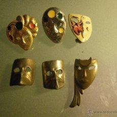 Pins de colección: 6 PINS DE MÁSCARAS CON PUA O IMPERDIBLES (1 REPETIDO). Lote 46241602