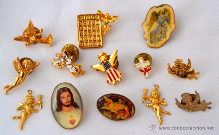 lote de pins y colgantes vintage san valentin angel de la guarda jesus