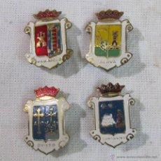 Spille di collezione: 4 PINS ANTIGUOS ALFILER ESCUDO CIUDADES ESPAÑOLAS. Lote 49229449