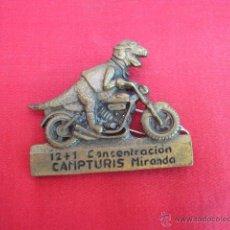 Pins de colección: PIN - PLACA EN METAL. 12 + 1 CONCENTRACION. CAMPTURIS. MIRANDA. 5 CM LONG.. Lote 49935918