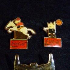 Pins de colección: LOTE DE 3 PINS DE COBI BARCELONA 92. COCACOLA. JAVIER MARISCAL. DIARIO LEVANTE 1988. Lote 50329741
