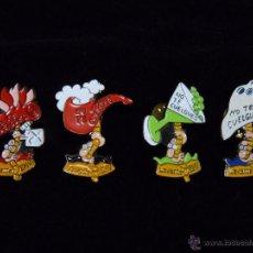 Pins de colección: LOTE DE 4 PINS DE NO TE CUELGUES. ORTIFUS. DIARIO LEVANTE AÑOS 90. Lote 50329746