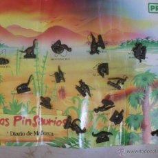 Pins de colección: 23 PINS DE DINOSUARIOS, DE DIARIO DE MALLORCA Y PRYCA. CON UN CARTÓN-ALBUM.. Lote 50376410