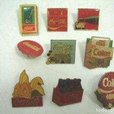 Pins de colección: IMPORTANTE COLECCION ANTIGUOS PINS - COCA-COLA-CHAPA REDACCION -9X AÑOS 70 80 - COCACOLA PIN COKE. Lote 70393541