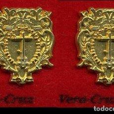 Pins de colección: 2 INSIGNIAS ORO DE LA HERMANDAD O COFRADIA DE LA SEMANA SANTA DE JEREZ( VERA - CRUZ )Nº86 Y 87. Lote 72922967