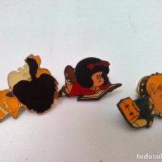 Pins de colección: LOTE 3 PINS DE MAFALDA SIN ESTRENAR AÑOS 80/90 EN PERFECTO ESTADO. Lote 83838328